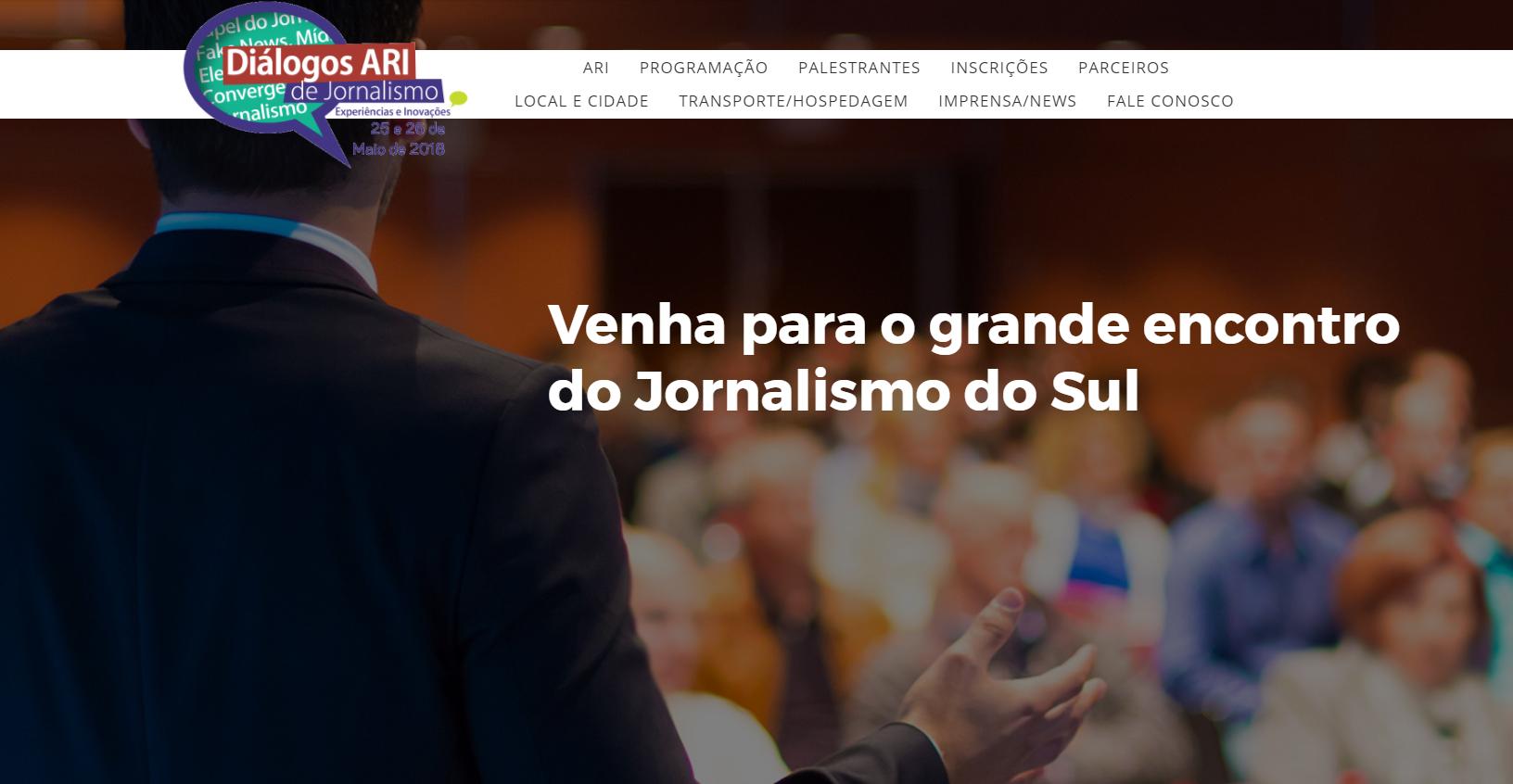 Página do evento Diálogos ARI de Jornalismo